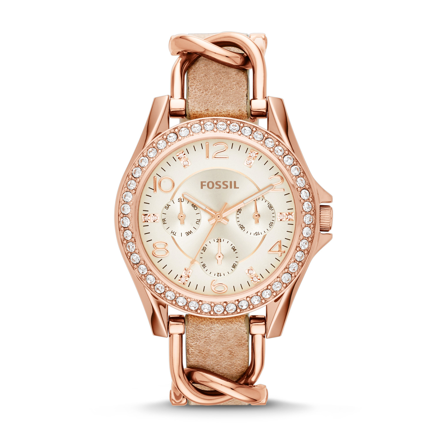 fossil watches, fossil, watches, women's watches, Fossil Riley Multifunction Stainless Steel & Leather Watch