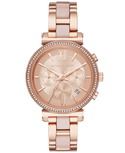 michael kors, luxury watches, Michael Kors Sofie Rose Gold Tone Watch