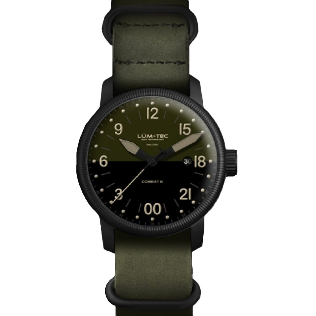 Lum-Tec Combat B37 24H, Modern Watch, Summer Watches, Green Strap, Date Display