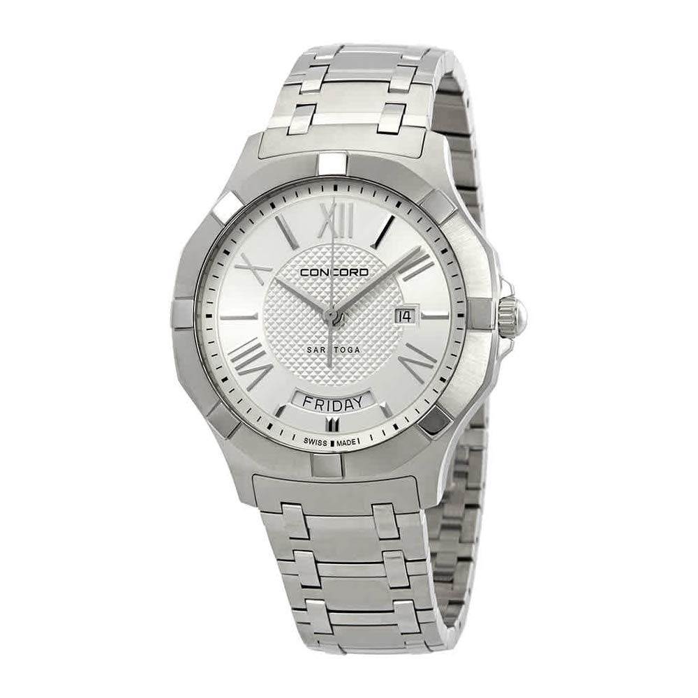 Swiss Watch, Stainless-steel Watch, Concord Watch, Date Display, Concord Saratoga Men's Stainless Steel Classic Watch