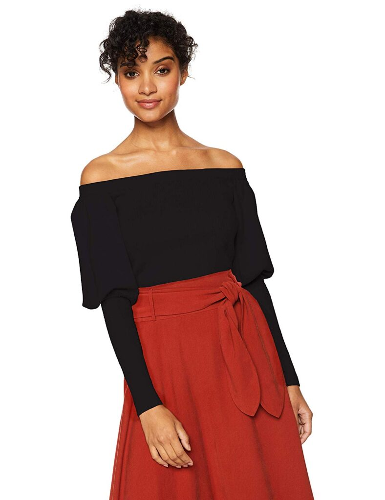 Puffed Sleeves, Black Sleeves, Red Skirt, Woman, Fashion