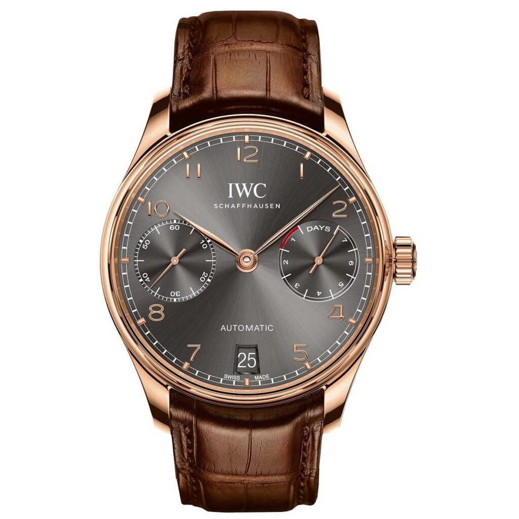 IWC Portugieser Automatic Dark Grey 18 Carat Red Gold, Automatic Watch, Luxury Watch, Leather Watch, Gold Watches For Men