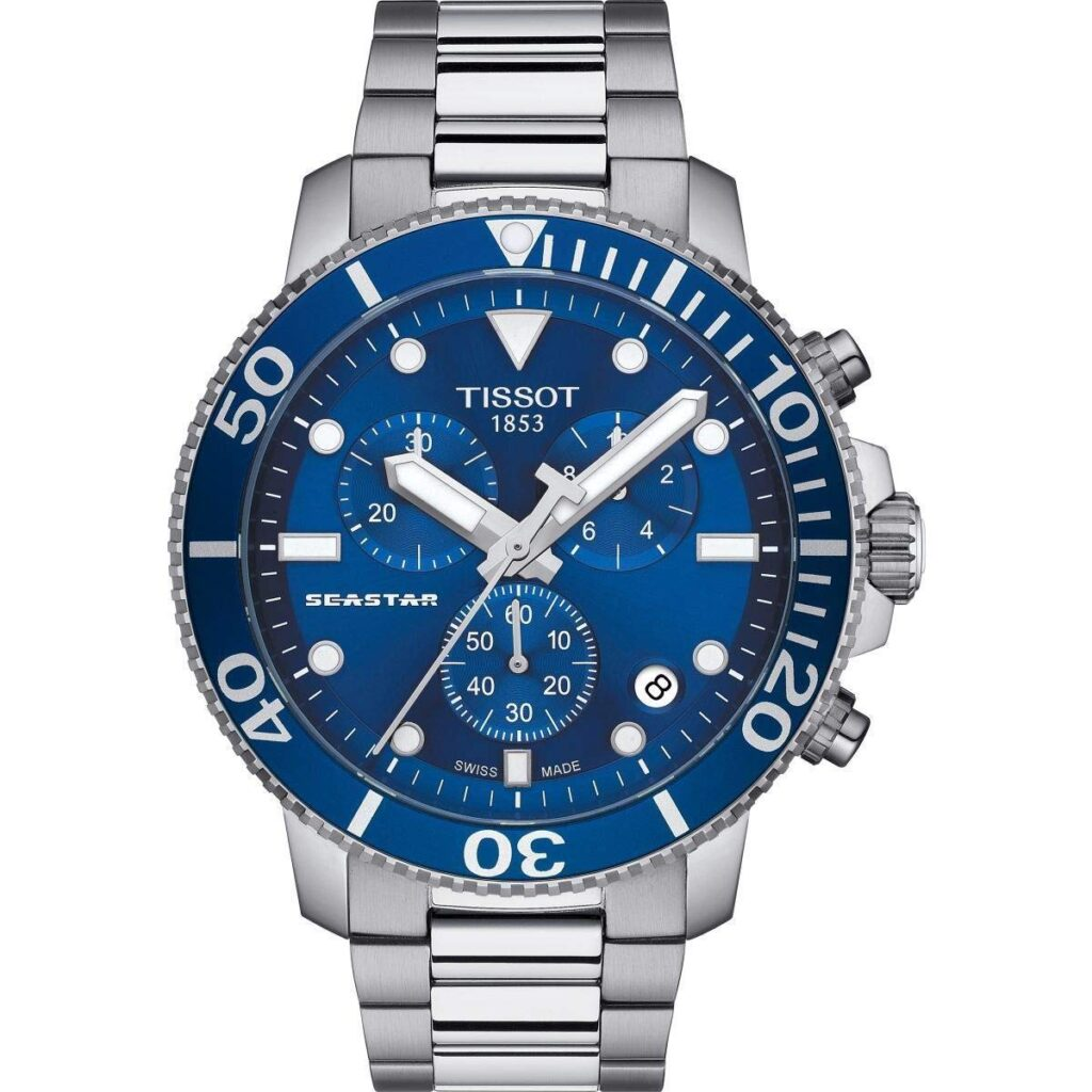 Tissot Seastar 1000, Blue Dial, Swiss Made Watch, Silver Strap, Travel Watches
