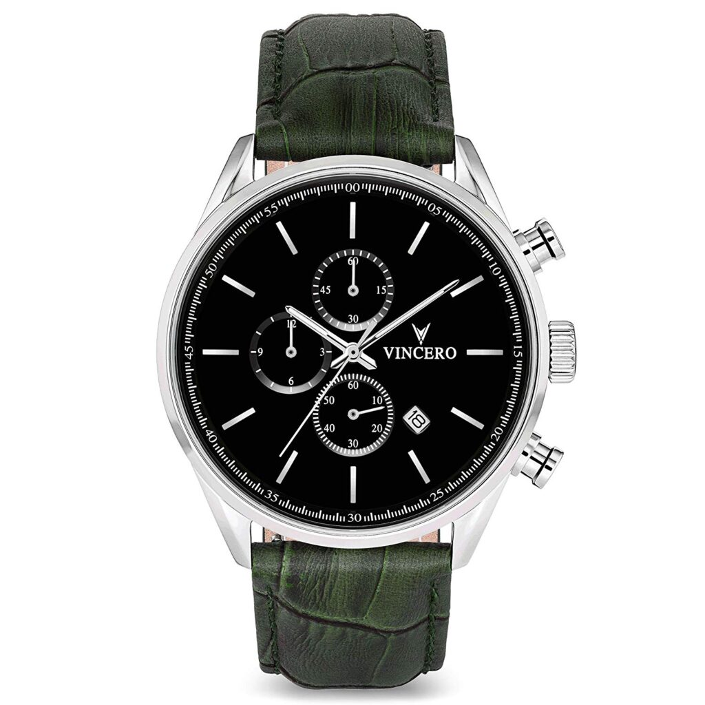 Vincero Luxury Men's Chrono S Wrist Watch, Chronograph Watch, Green Strap, Classic Style