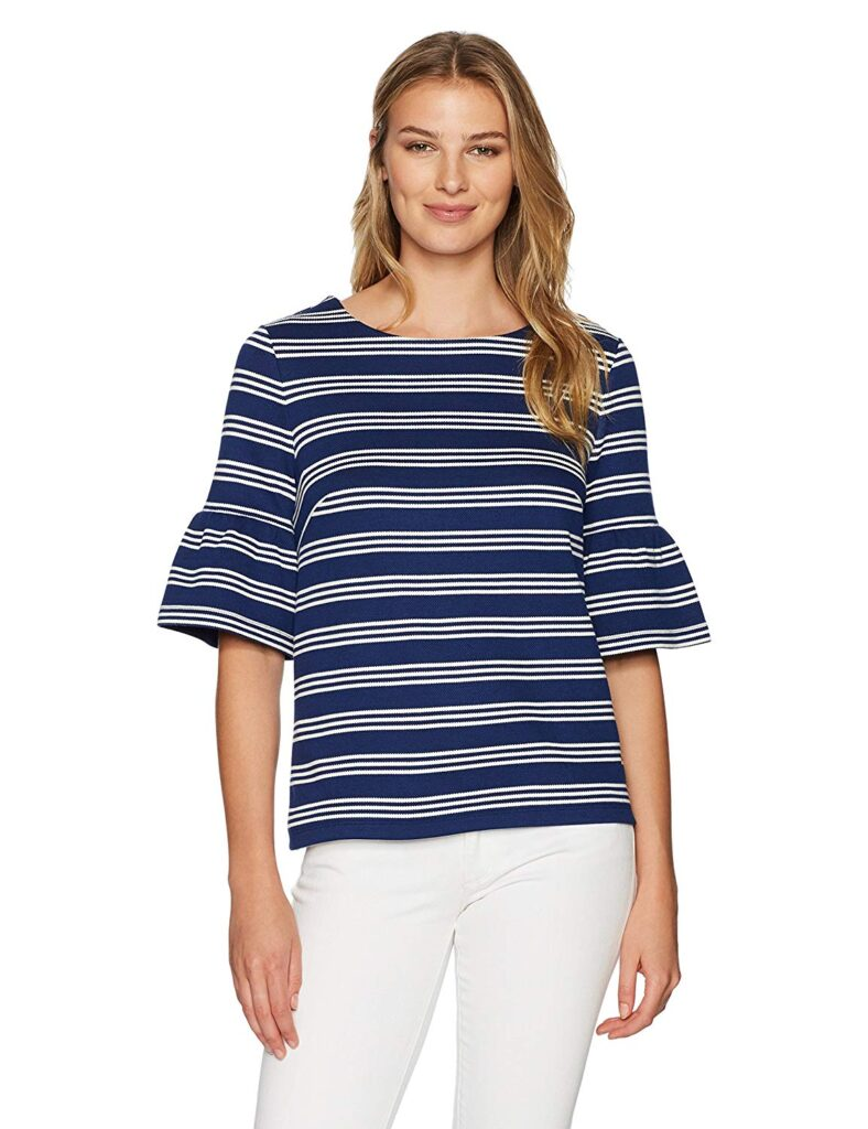 Bell Sleeves, Striped Shirt, White Pants, Woman, Fashion