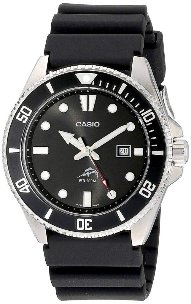 Casio Men's Black Analog Anti Reverse Bezel Watch, Black Watch, Swiss Watch, Dive Watch