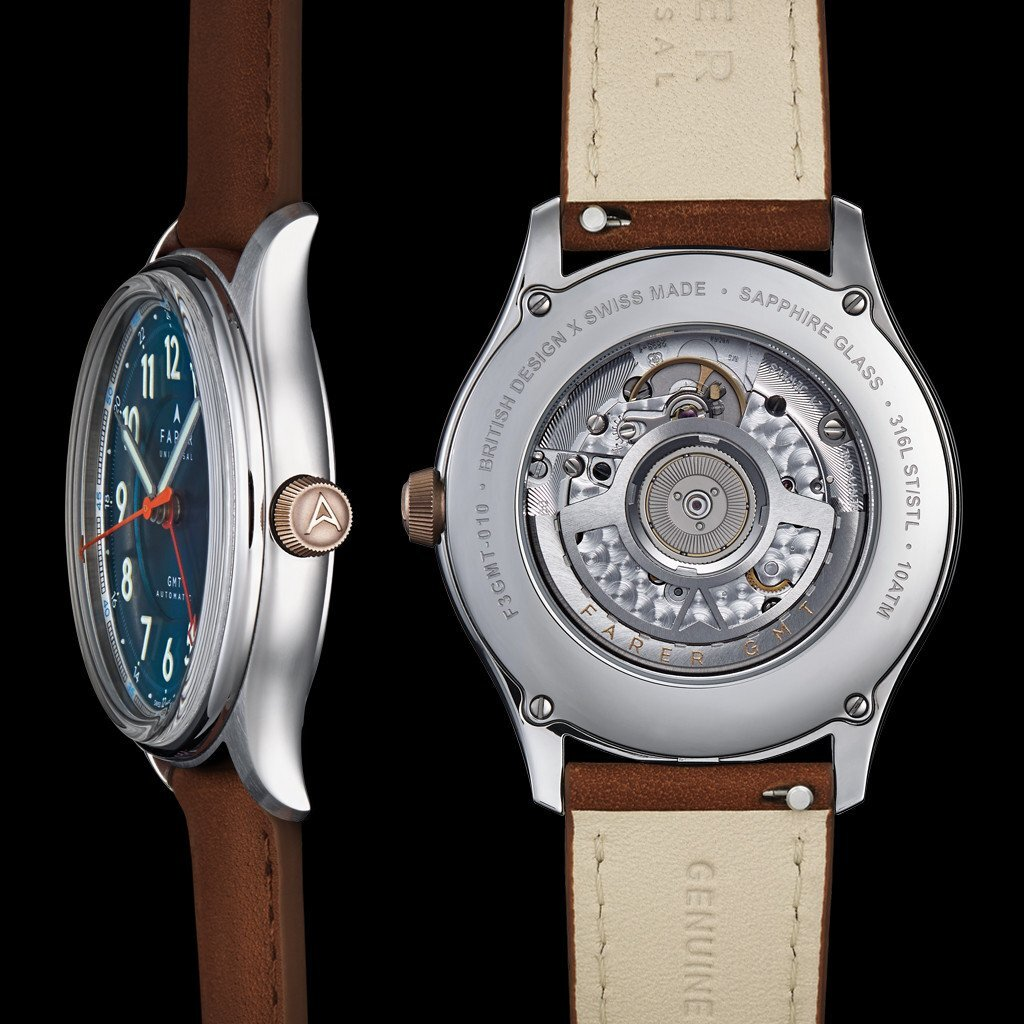 Farer Lander, Travel Watches, Leather Watch, Sapphire Glass, Blue Dial