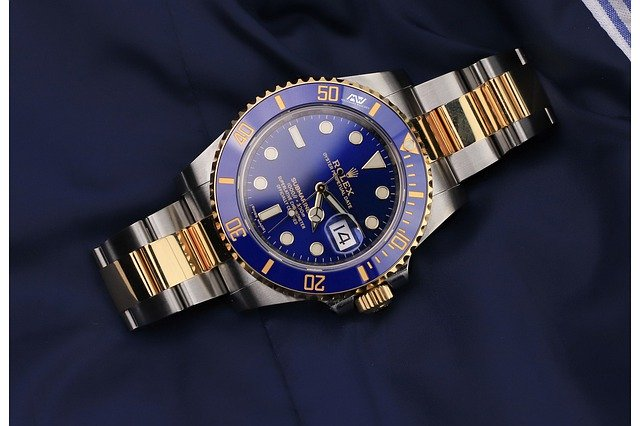 Rolex Watch, Luxury Watch, Modern Watch, Automatic Watch, Blue Watch Face, Golden Watch