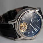 Tourbillon Watch, Unique Watch, Blue Dial, Leather Watch, Silver Watch