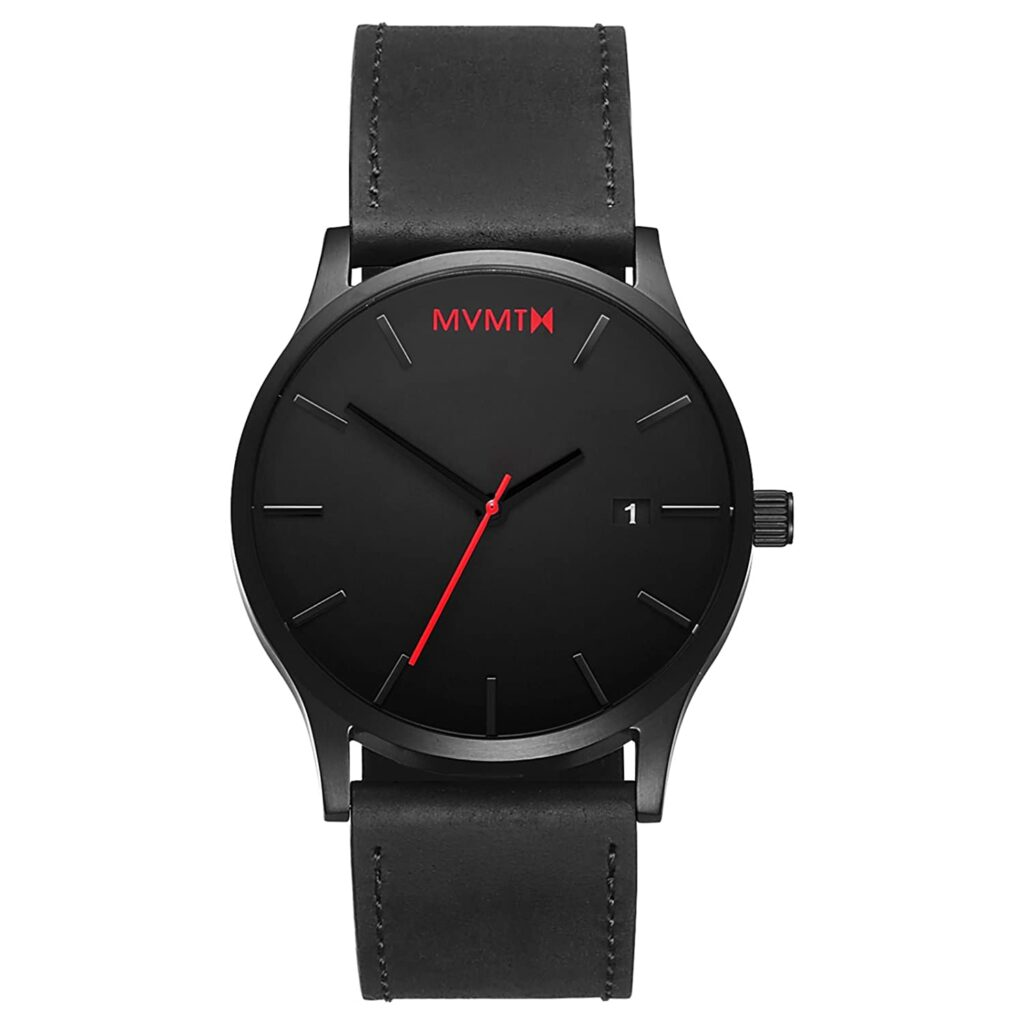 MVMT Classic Black Leather, Black Watches, Date Display, Automatic Watch, Unique Watch