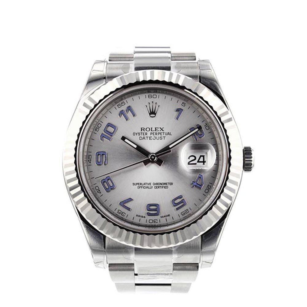 Rolex Datejust II 116334 Silver Blue Arabic, Wimbledon Tennis Stars Watches, Automatic Watch, Date Display, Swiss Watch