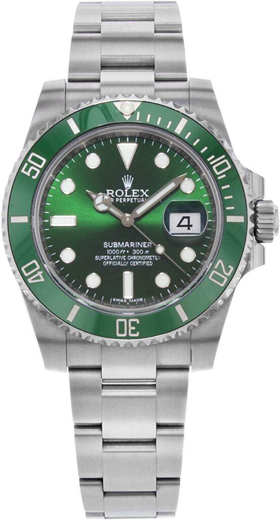 Rolex Submariner, Men's Dress Watches, Date Display, Green Dial, Steel Watch