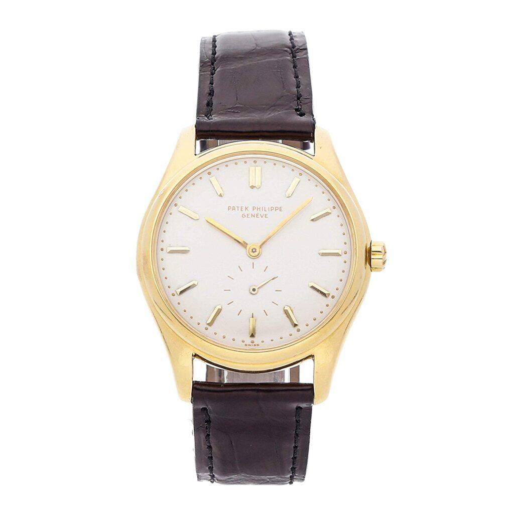 Patek Philippe Calatrava, Golden Dial, Leather Watch, Men's Dress Watches