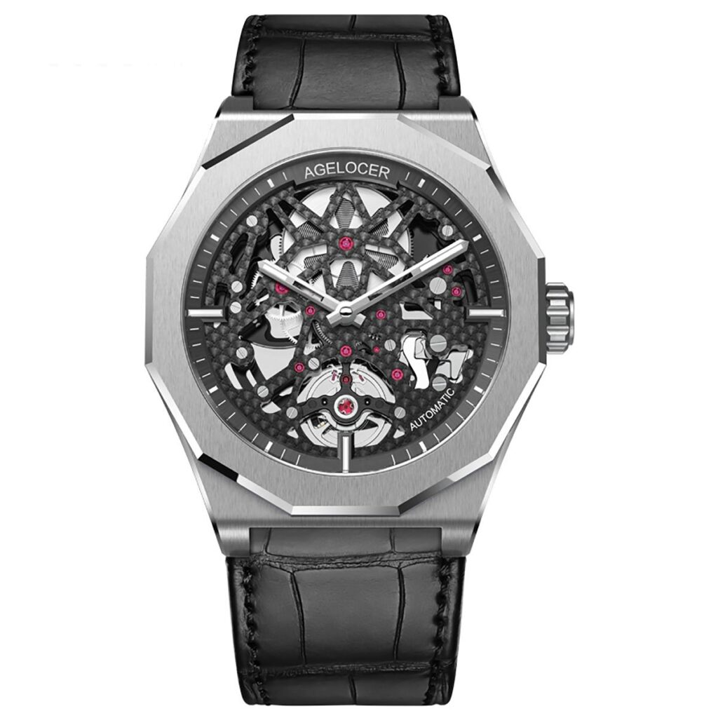 Agelocer Skeleton Diver Watch, Automatic Watch, Silver Watch, Skeleton Watches, American-made Watch