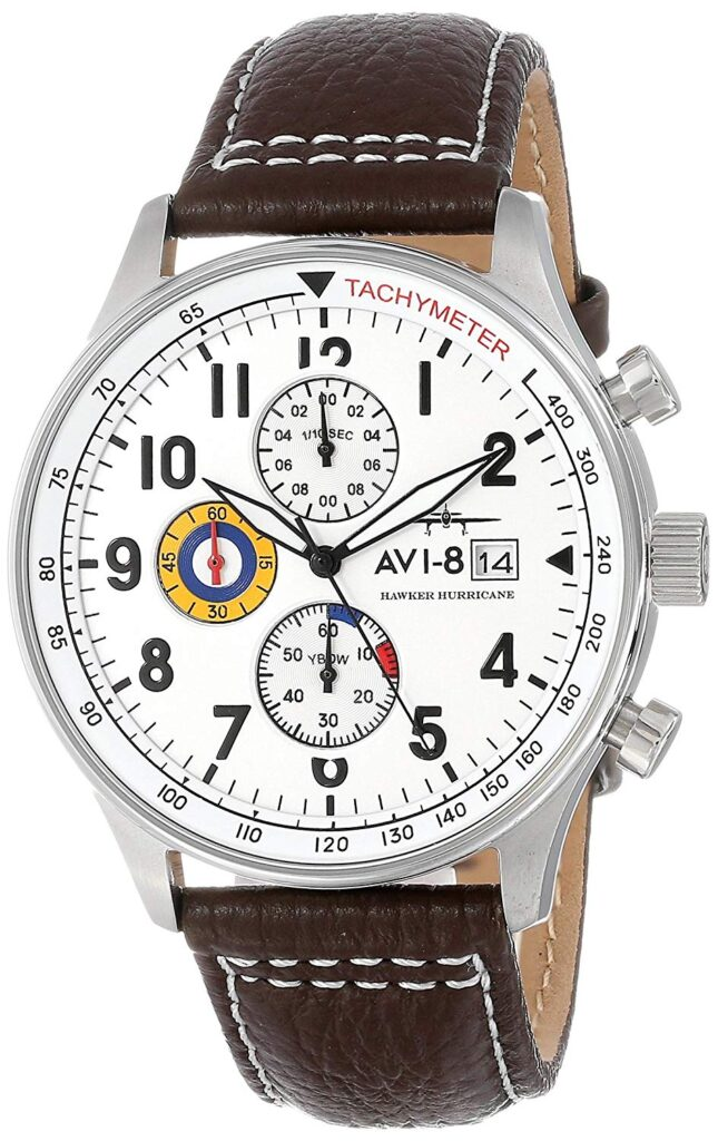 AVI-8 Men's AV-4011 Hawker Hurricane Analog Display Japanese Quartz Watch, Leather Watch, Date Display, Modern Watch