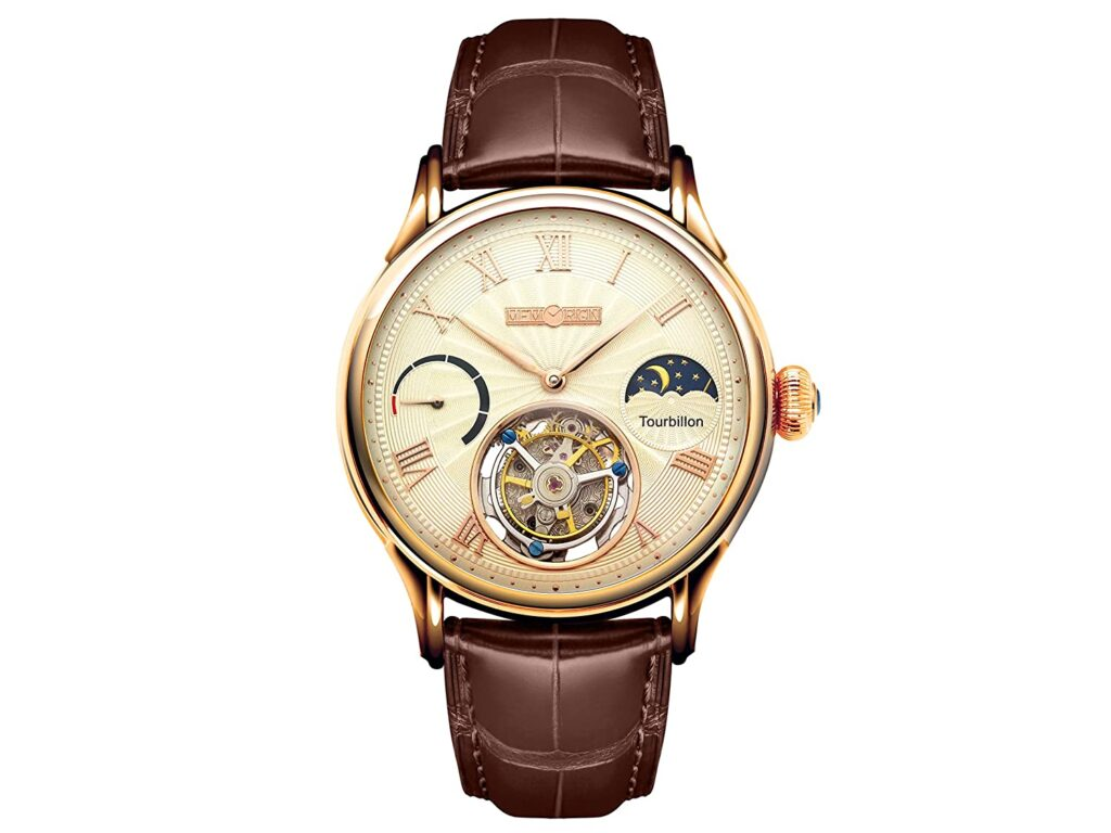 Men's MO0921 Everlasting Series Champagne Tourbillon Watch, Watch Part, Modern Design, Leather Watch