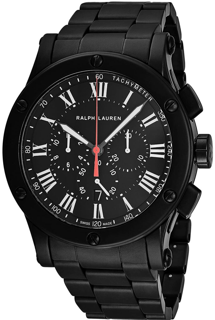 Ralph Lauren Sporting Chronograph Black Ceramic, Swiss Made Watch, Black Watches, Tachymeter, Analogue Watch