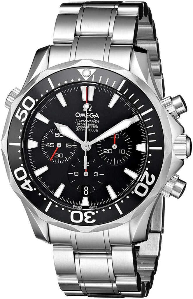 Omega Seamaster 300, Stainless-steel Watch, Swiss Watch, Silver Strap, Black Dial, Groom Watches