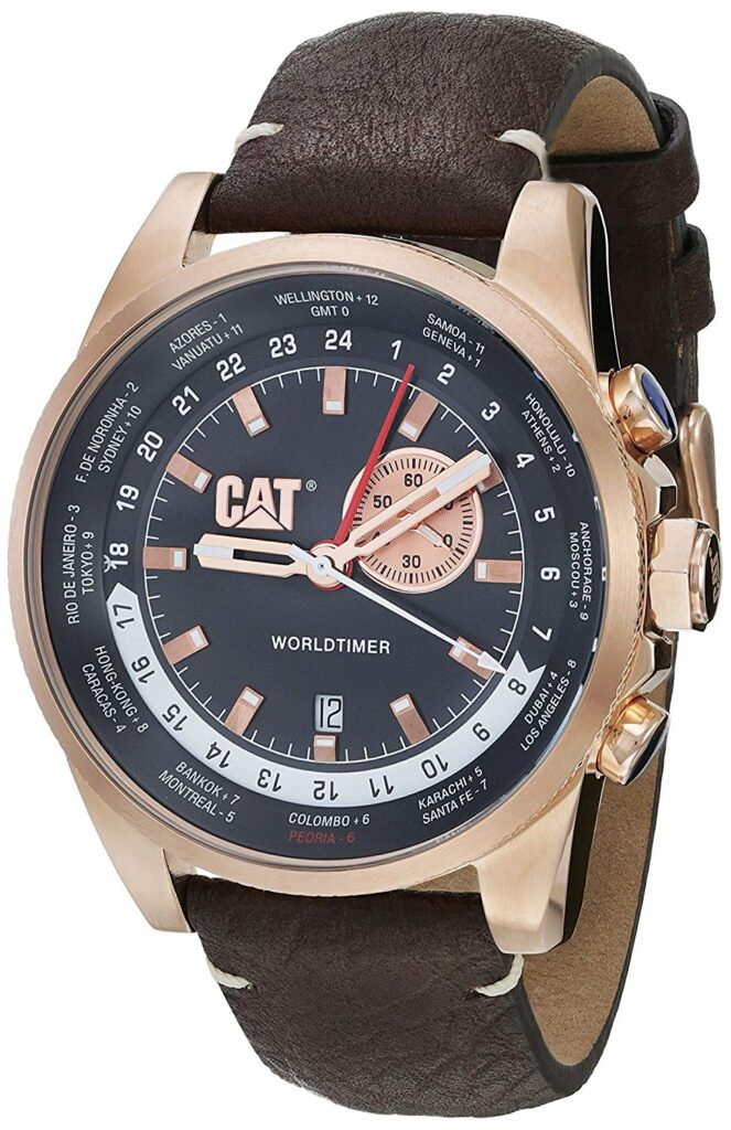 World Timer, Automatic Watch, Brown Strap, Date Display, Luxury Watch