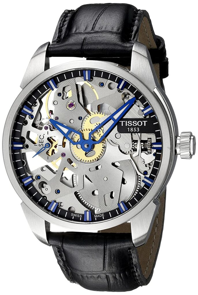 Tissot Men's Squelette Mechanical, Swiss Made Watch, Skeleton Watches, Silver Watch, Functional Watch