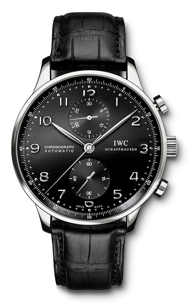 IWC Schaffhausen, Chronograph, Automatic Watch, Black Watch, Leather Watch