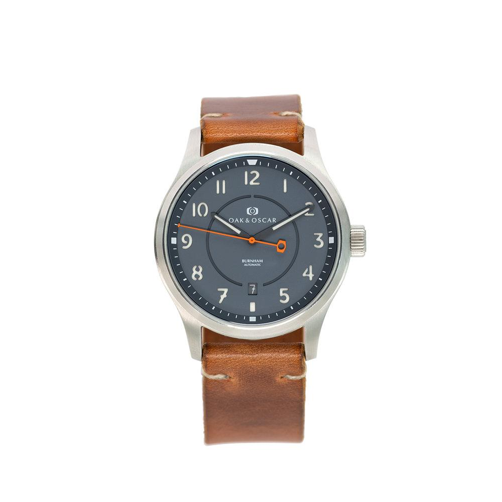 Burnham Watch, Date Display, Brown Strap, Automatic Watch, Luxury Watch