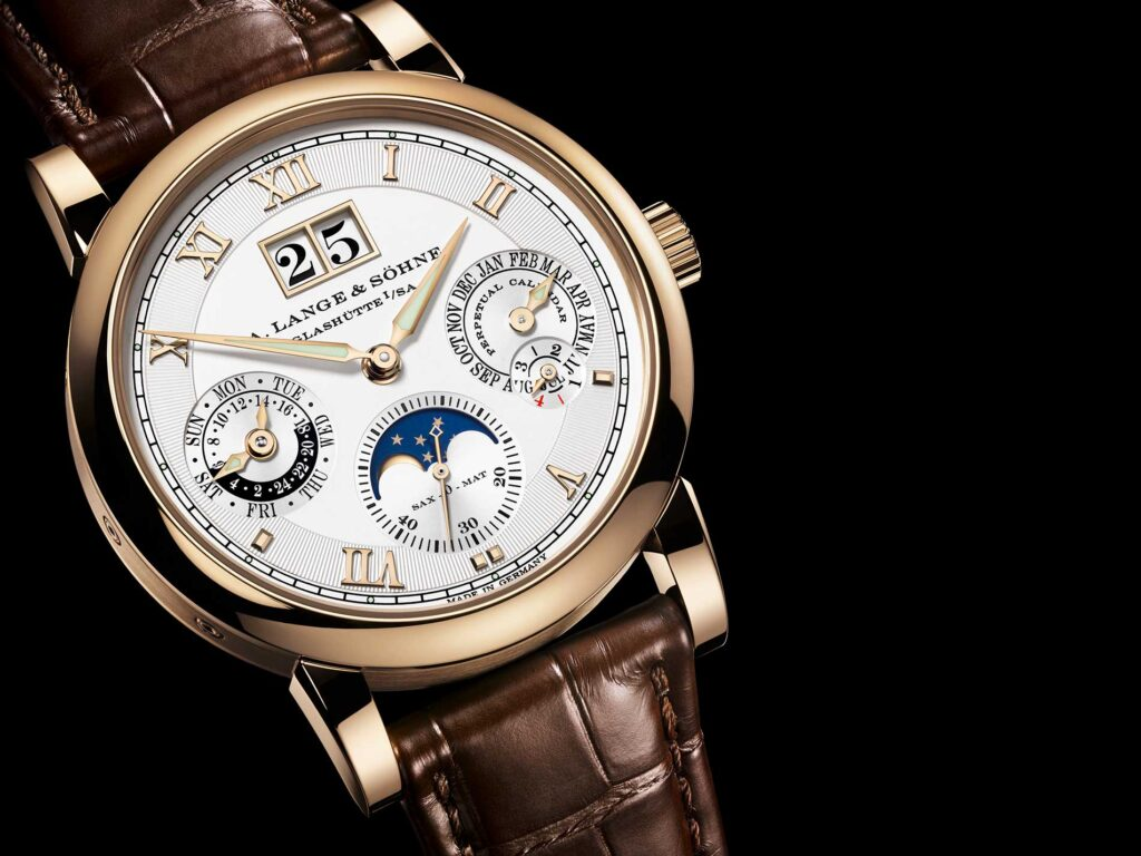 Langematik Perpetual Honeygold, German Watch, Leather Strap, Modern Watch, Automatic Watch