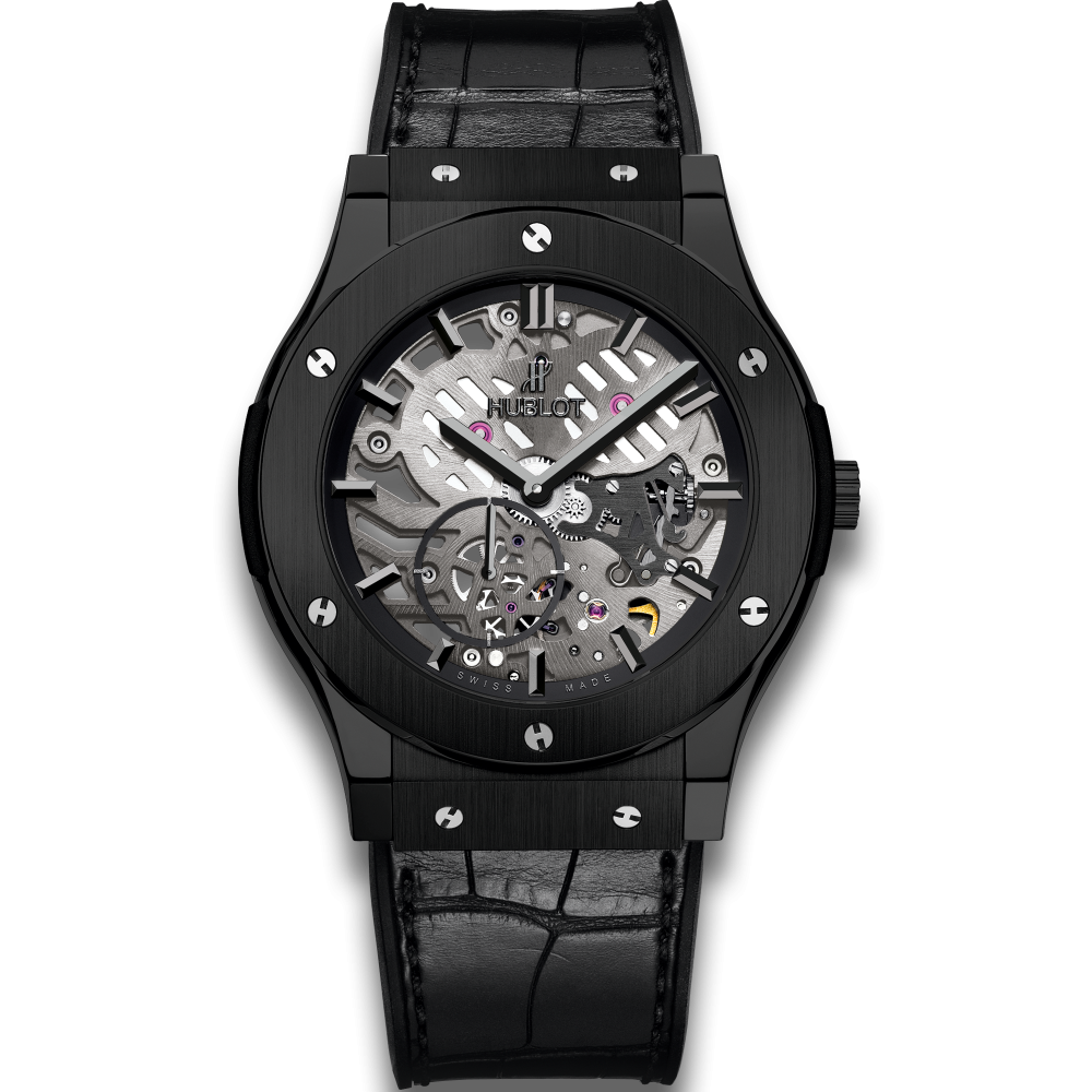 Hublot Classic Fusion Classico Ultra-Thin All Black, black watches, hublot watches