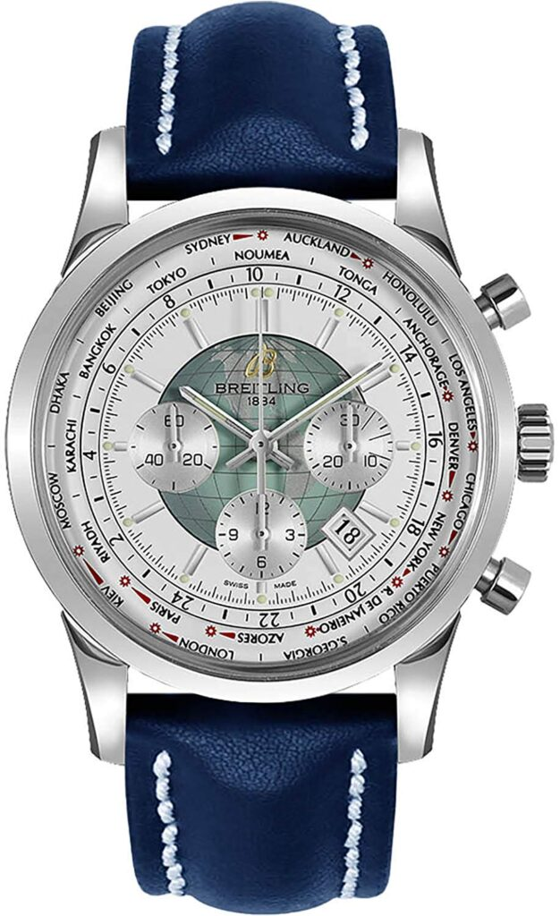 Breitling Transocean Chronograph Unitime, Leather Watch, Blue Strap, Modern Watch, Automatic Watch