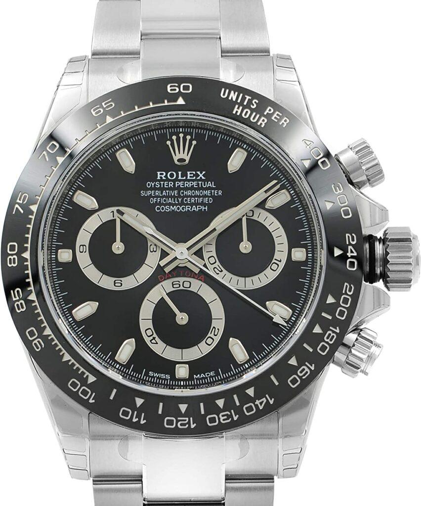 Rolex Daytona, Drake, Silver, Black Dial, Swiss Watch, Silver Watch