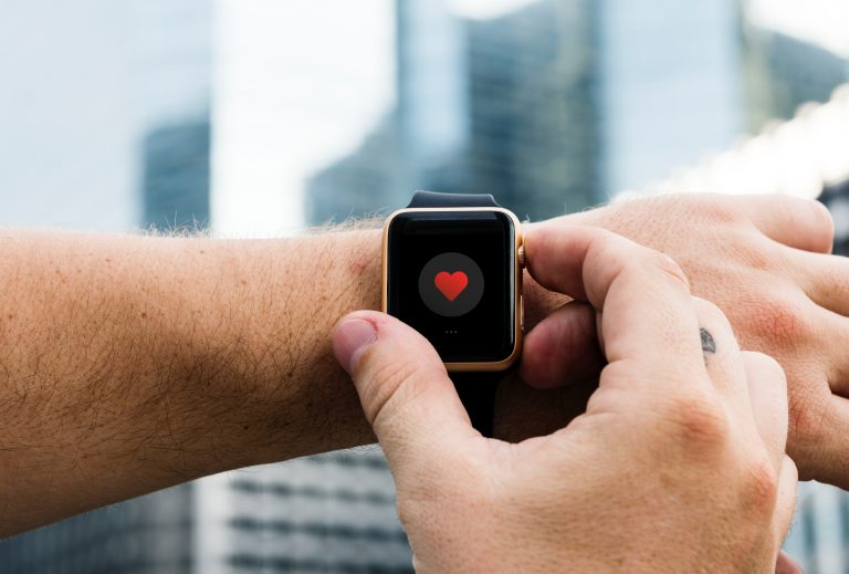 Smartwatch, Heart, City, Skyline, Wrist