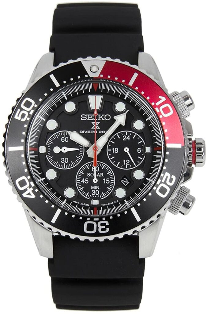 SEIKO Prospex Sea Diver Chronograph, Dive Watch, Sleek, Black Watch, Solar, Water-resistant Watch