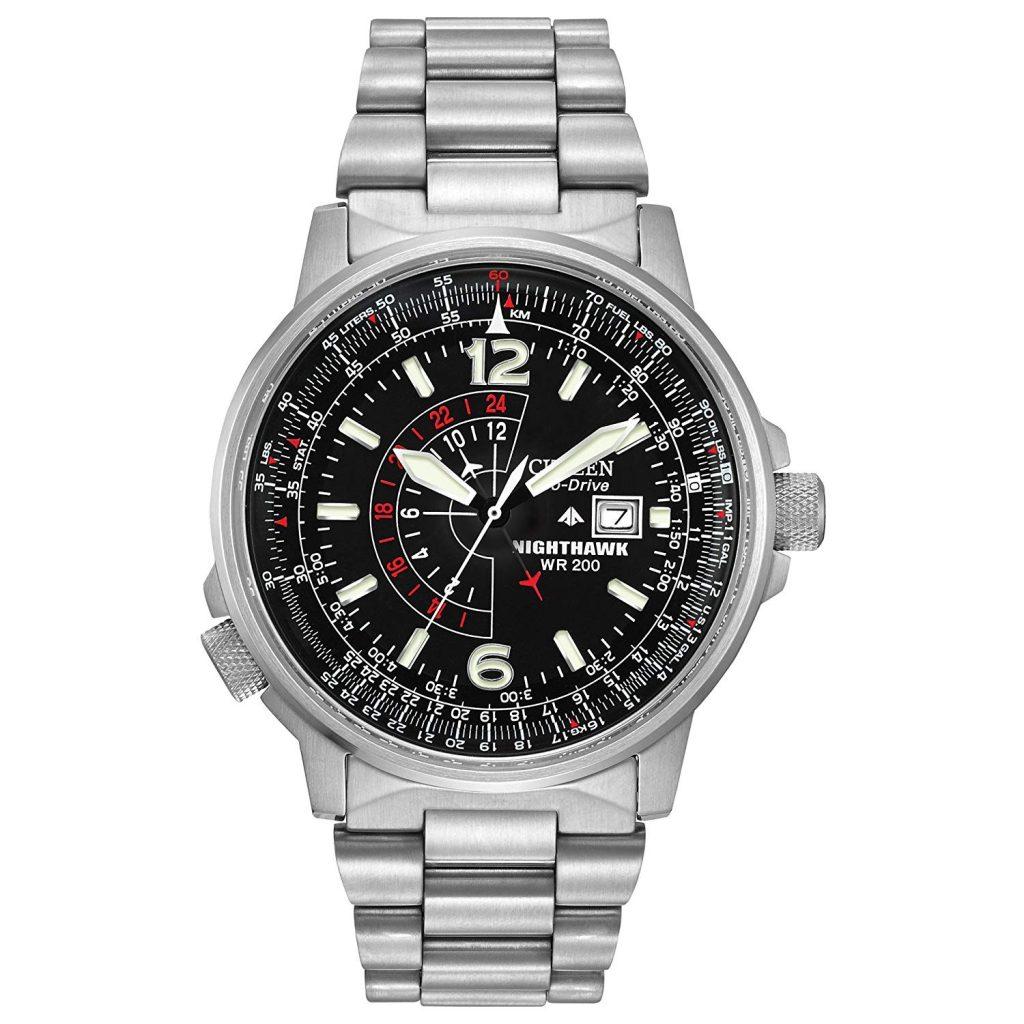 Citizen Nighthawk, Quartz Watch, Water-resistant, Stainless Steel, Silver