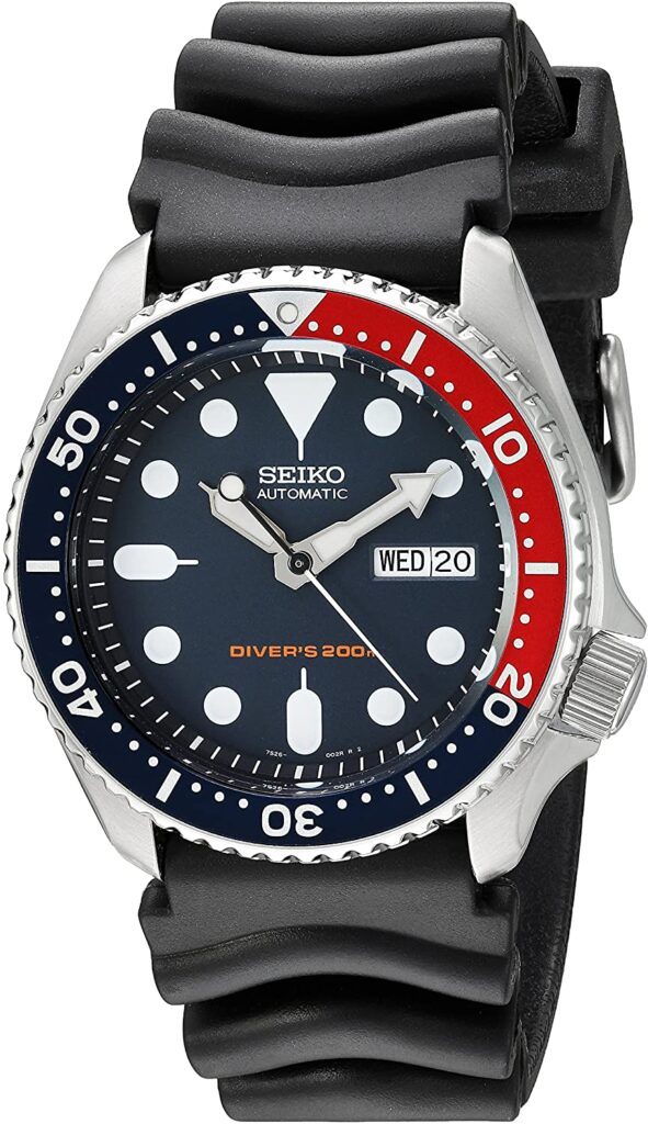 SEIKO Divers Automatic Deep Blue Dial, Dive Watch, Blue Red Colour Scheme, Automatic Watch