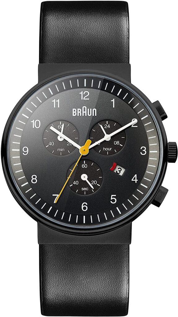 Braun BN0035, Quartz Watch, Black Watch, Leather Watch, Analogue Watch