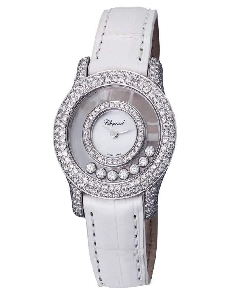 Chopard Happy Diamonds Watch, Ladies Diamond Watches, Ladies Watch, Luxury Watch, Green Leather Strap