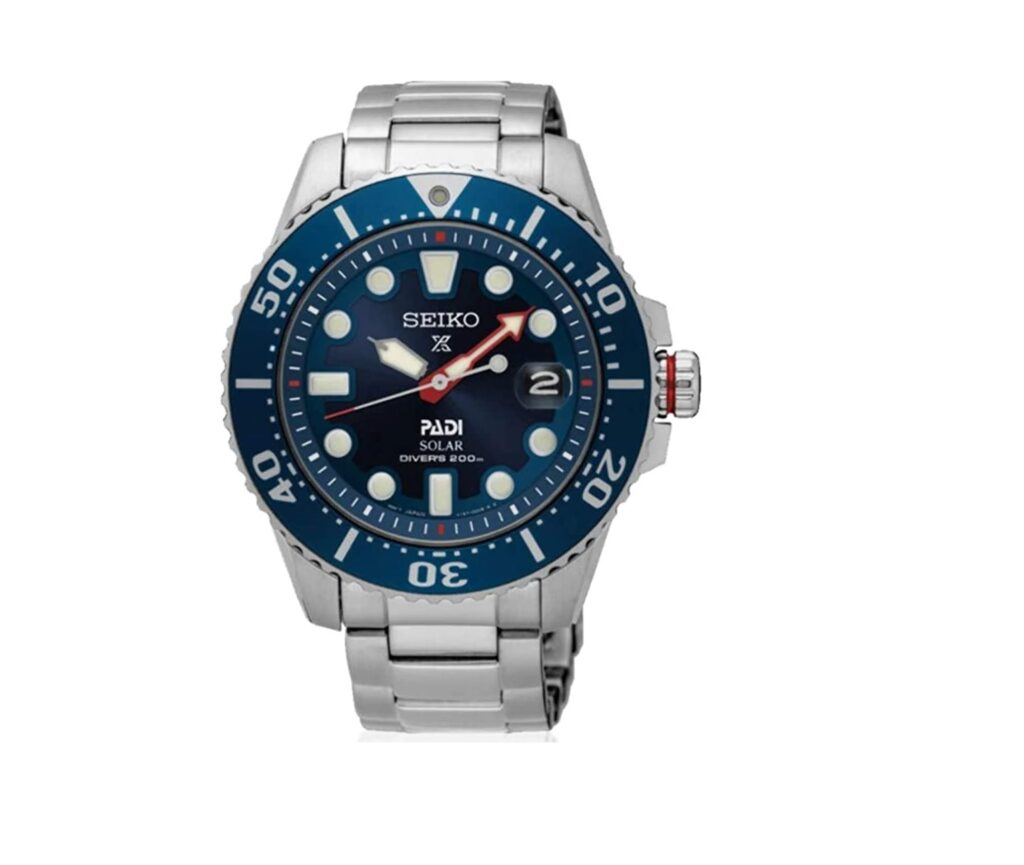 Seiko Dive Watch, Seiko Prospex PADI, Red, Blue, Solar-powered, Automatic, Water-resistant