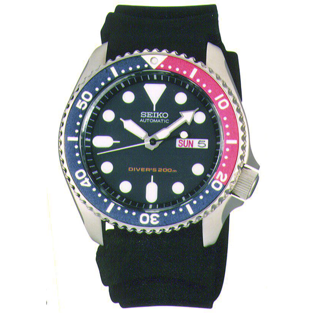 SEIKO Divers Automatic Deep Blue Dial, Dive Watch, Bezel, Blue Red, Automatic