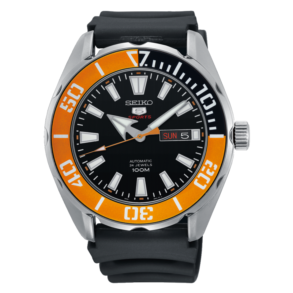 SEIKO Automatic Sports Watch, Dive Watch, Orange, Quartz Dial, Stainless Steel Watch