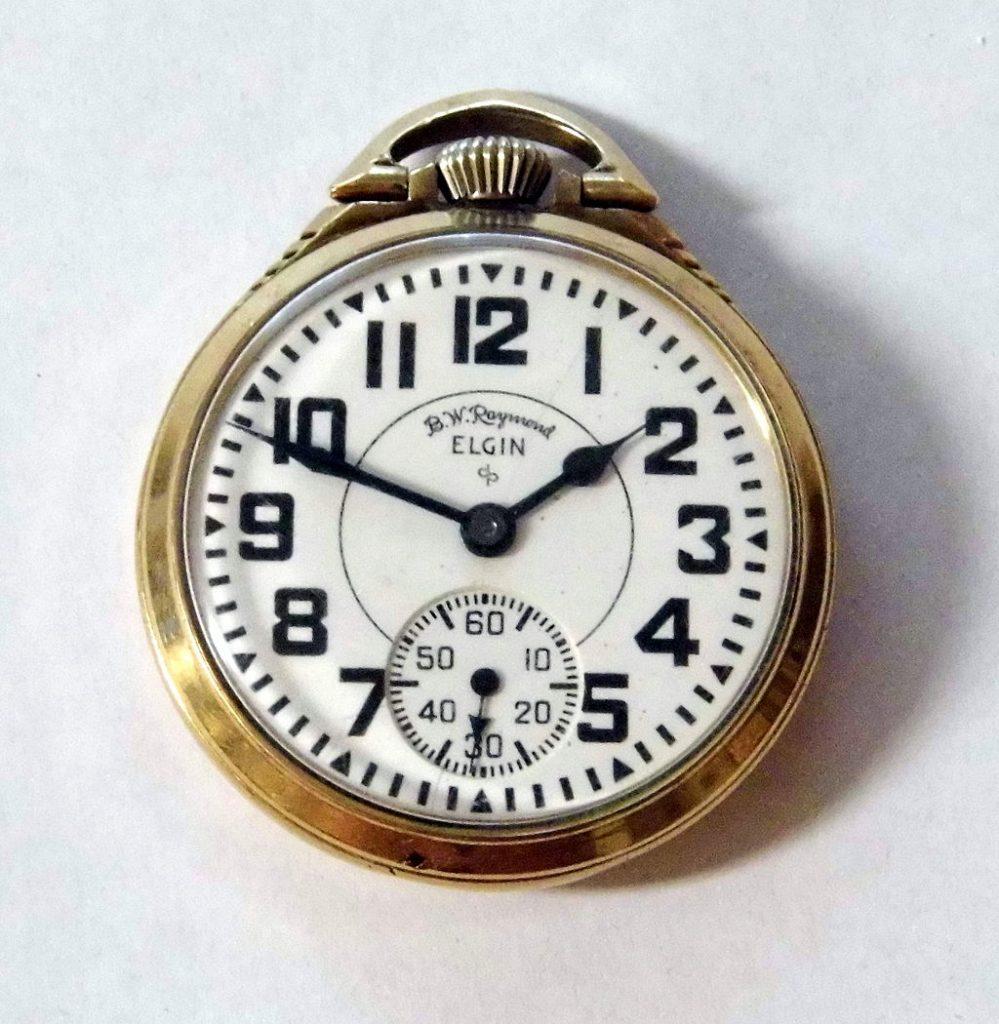 Vintage Elgin Railroad Pocket Watch, 10 K Gold Filled Case, 21 Jewels, 8 Adjustments