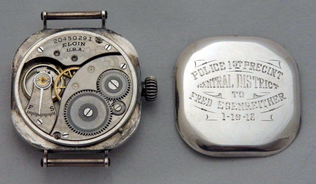 Vintage Elgin Mens Wrist Watch, Sterling Silver Case, 7 Jewels, Circa 1918