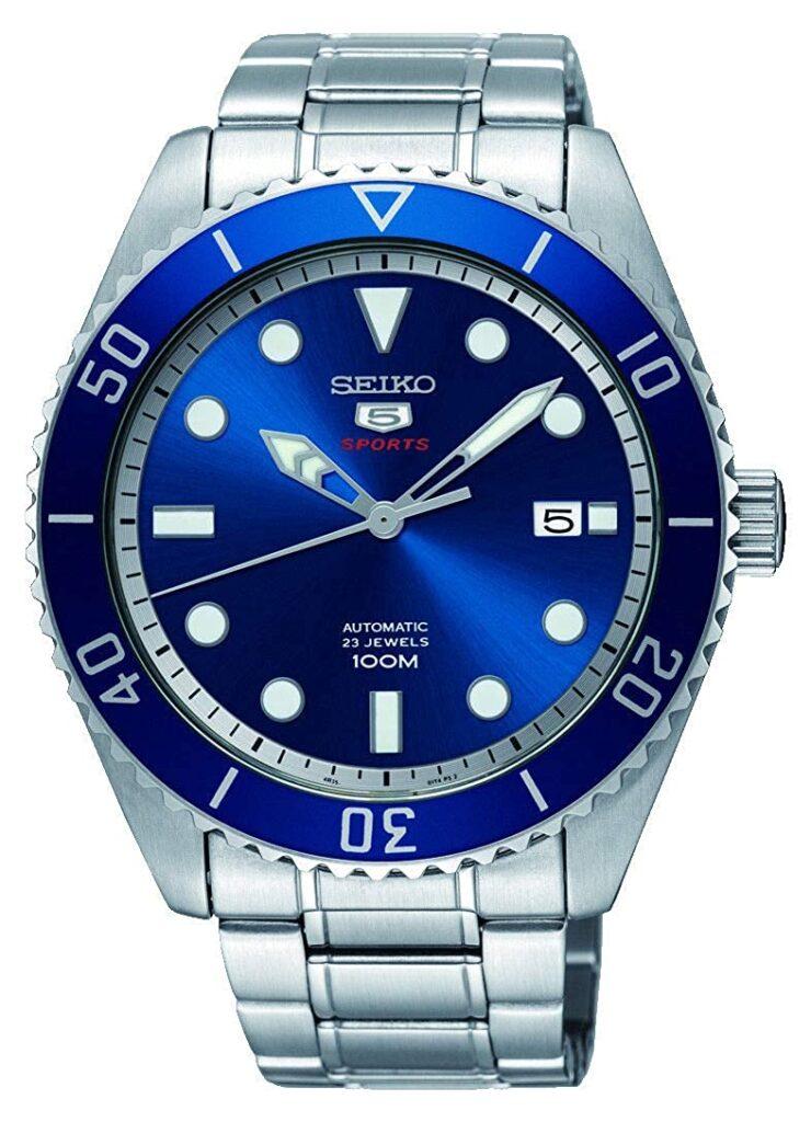 Seiko 5 SRPB89K1, Steel Watch, Blue Watch Face, Automatic Watch, Steel Watch