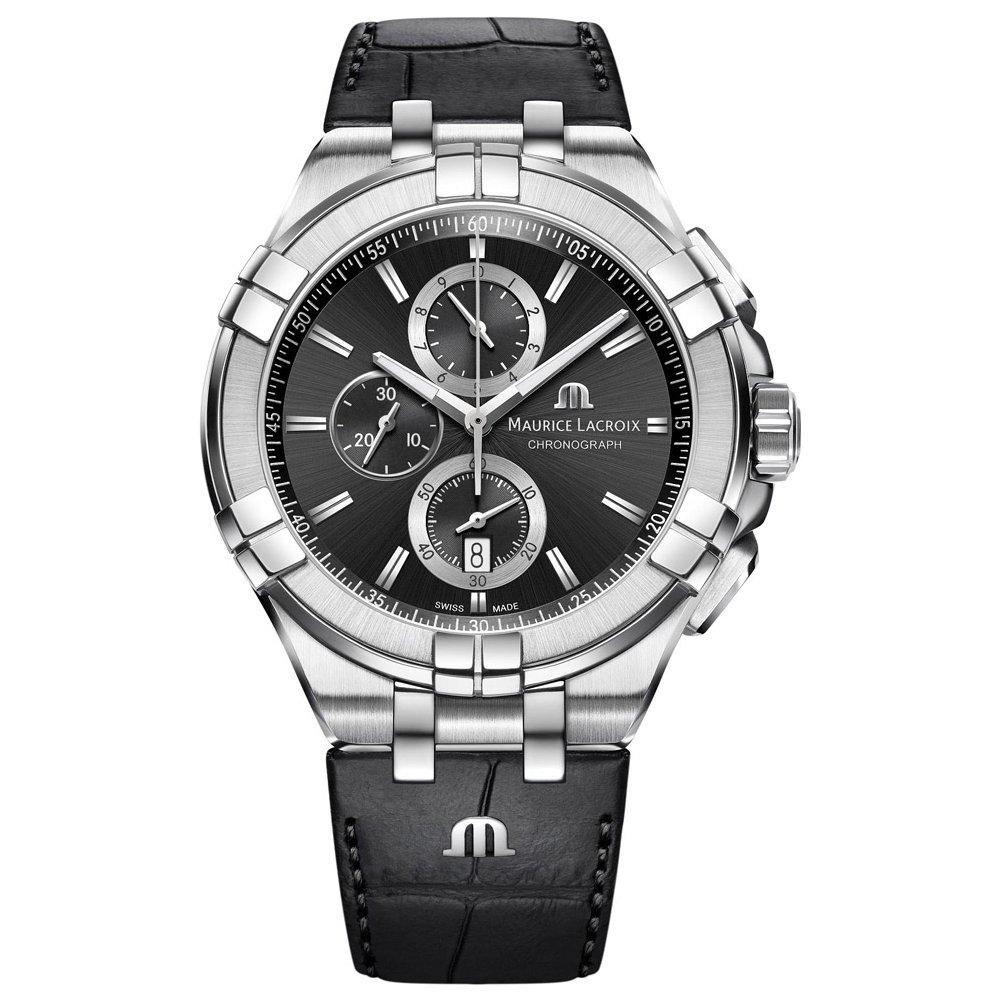 Maurice Lacroix Watch, AIKON Quartz Chronograph 44mm, Leather Strap, Stunning, Distinctive