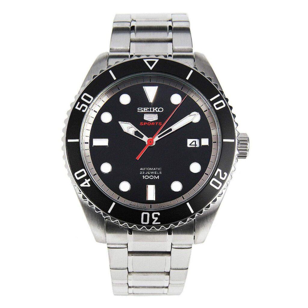 SRPB91J1, Steel Watch, Silver Watch, Seiko 5 Watch, Automatic Watch, Black Watch Face