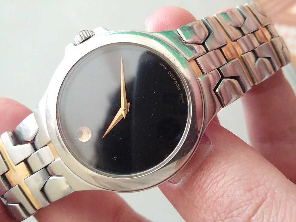 Movado Watch, Steel Coating, Gold Watch Hands, Silver Watch, Unique Watch Face