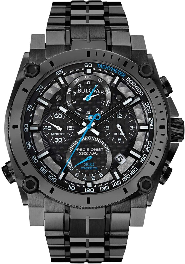 Bulova Gunmetal Precisionist Chronograph Watch, Black Watch, Chronograph Feature, Modern Watch, Comfortable Watch
