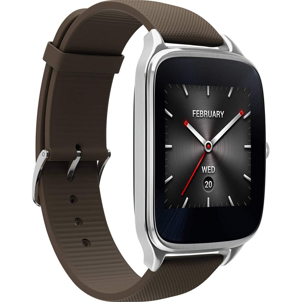 The ASUS ZenWatch 2, Affordable Watch, Attractive Watch Design, Brown Strap, Digital Time Display