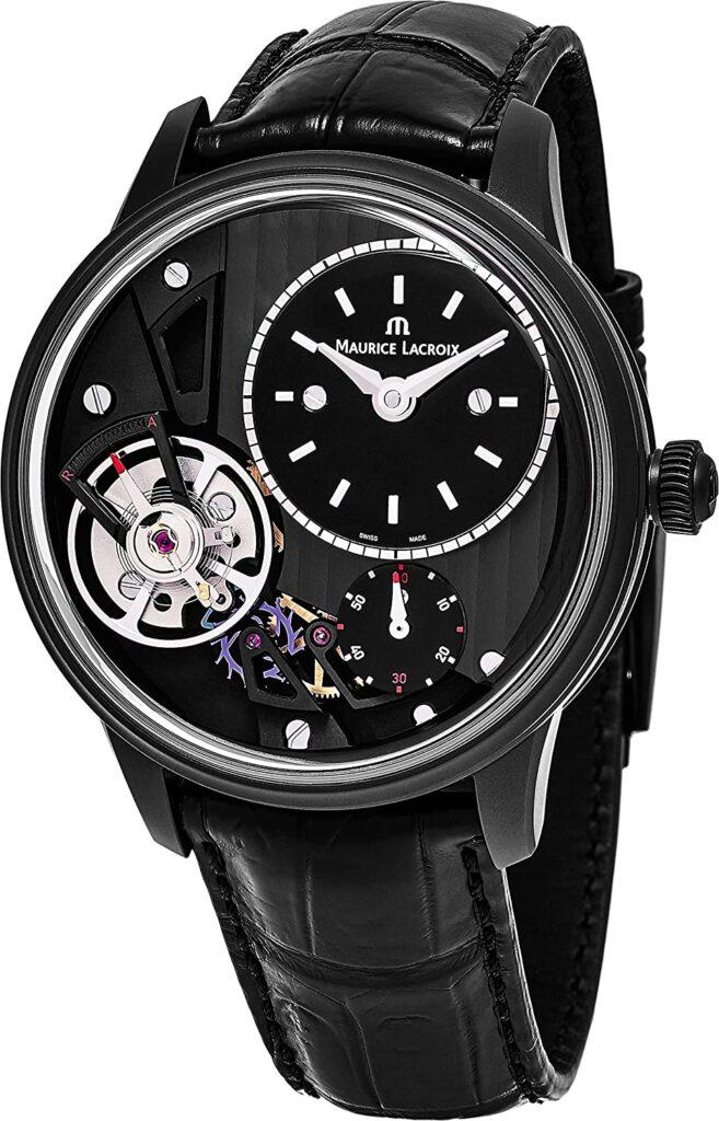 Maurice Lacroix Masterpiece Gravity, Astounding Watch Design, Unique Watch, Attractive Watch, Black Watch, Leather Watch