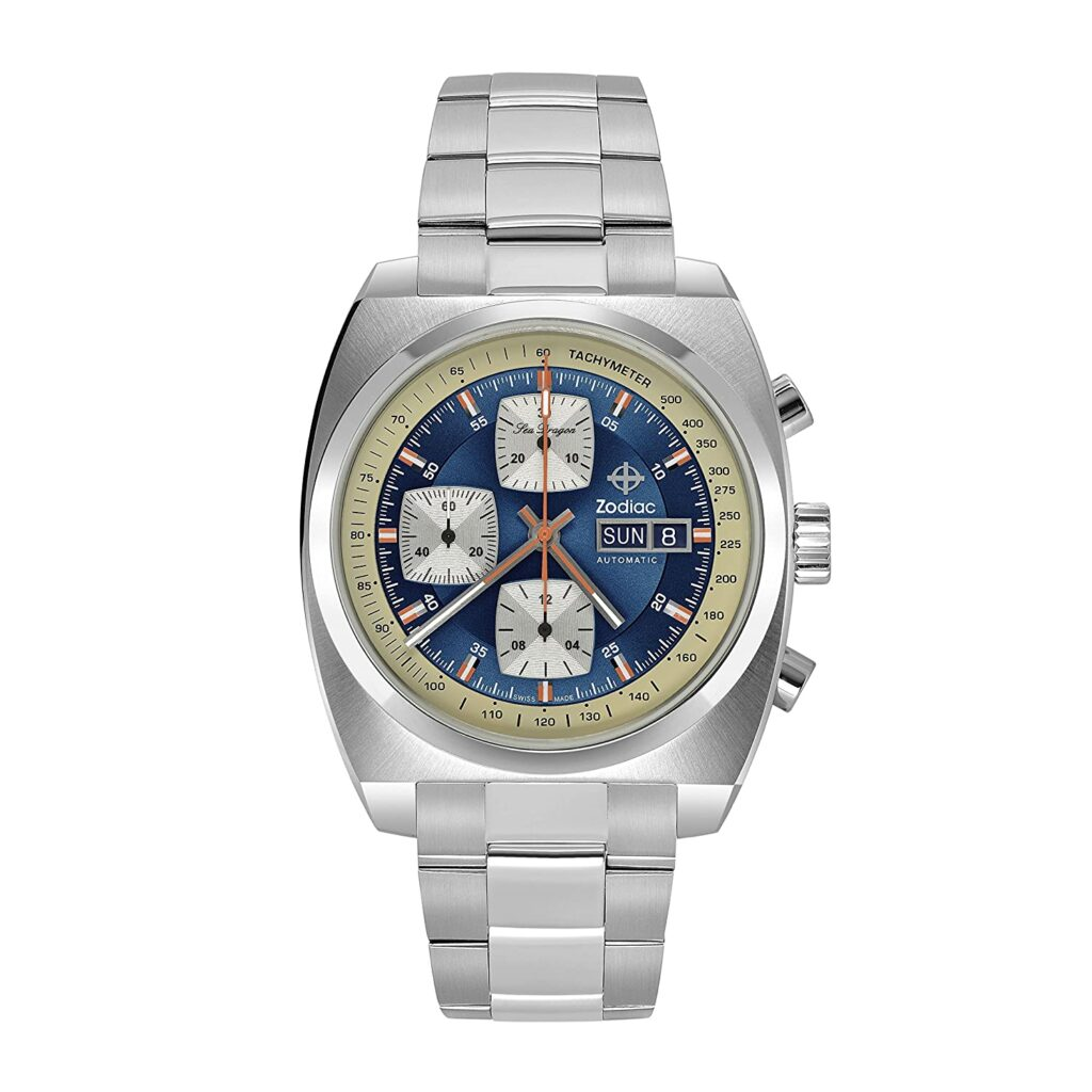 Zodiac Sea Dragon Chronograph, Distinctive Watch Design, Silver Watch, Steel Watch Coating, Tachymetre Feature