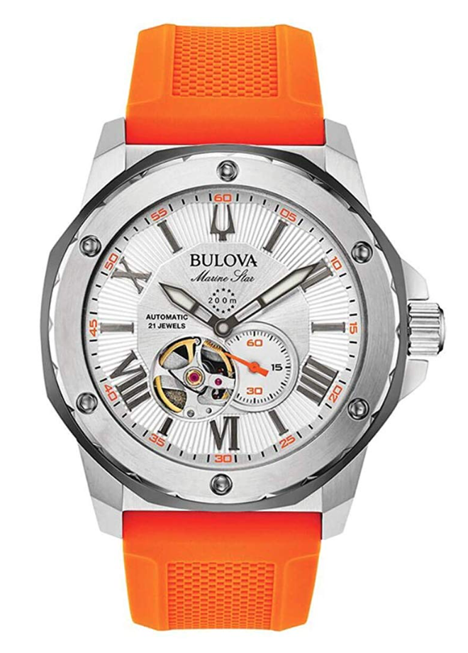 Bulova Marine Star, Automatic Watch, Orange Watch Strap, Steel Watch, American Watch